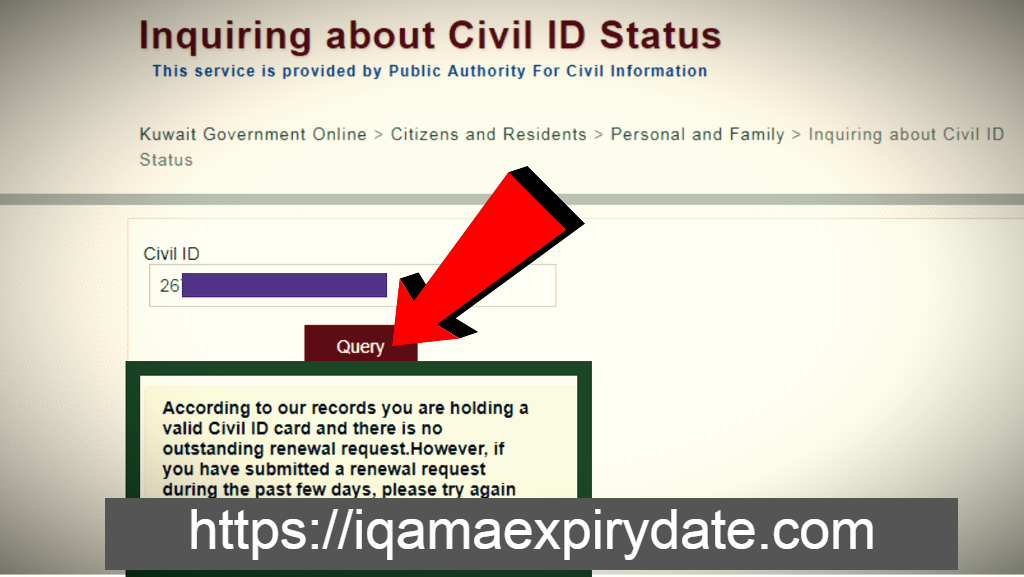 inquiring about civil id status